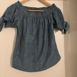 jcrew off the shoulder denim blouse